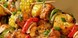 A picture jerk chicken and plantain kebabs.