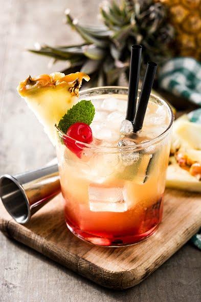 Poolside Caribbean Rum Cocktails - Barbadian Malibu Sunset